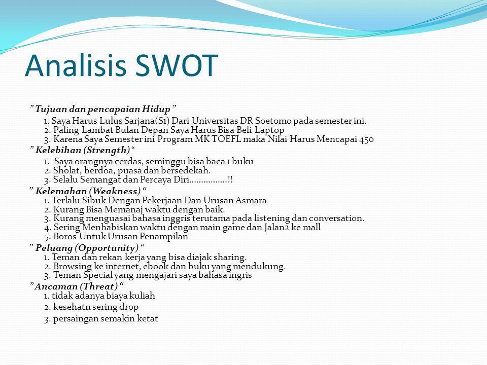 """Analisis SWOT """" Tujuan dan pencapaian Hidup """" 1. Saya Harus Lulus Sarjana(S1) Dari Universitas DR Soetomo pada semester ini. 2. Paling Lambat Bulan De"""