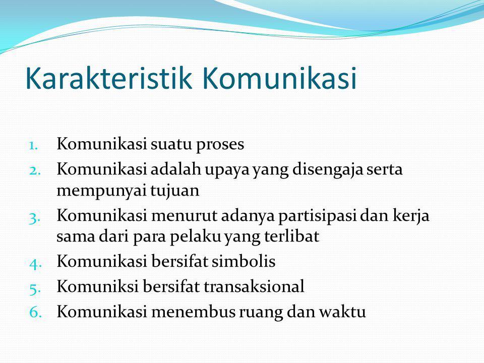 Karakteristik Komunikasi 1. Komunikasi suatu proses 2. Komunikasi adalah upaya yang disengaja serta mempunyai tujuan 3. Komunikasi menurut adanya part