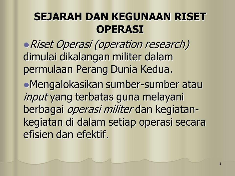 1 SEJARAH DAN KEGUNAAN RISET OPERASI Riset Operasi (operation research) dimulai dikalangan militer dalam permulaan Perang Dunia Kedua. Riset Operasi (