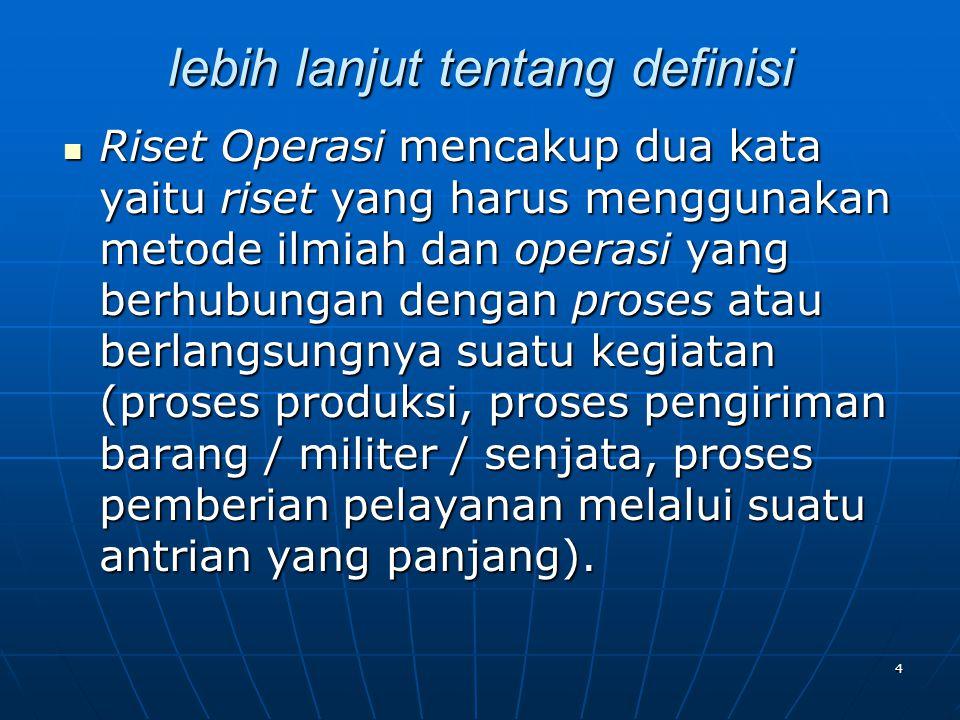 4 lebih lanjut tentang definisi Riset Operasi mencakup dua kata yaitu riset yang harus menggunakan metode ilmiah dan operasi yang berhubungan dengan p