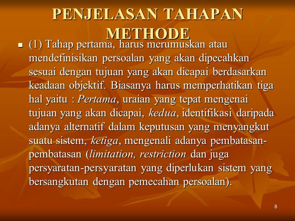 8 PENJELASAN TAHAPAN METHODE (1) Tahap pertama, harus merumuskan atau mendefinisikan persoalan yang akan dipecahkan sesuai dengan tujuan yang akan dic