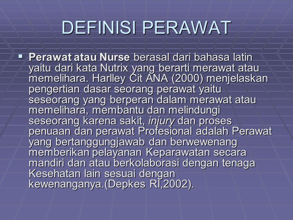 DEFINISI PERAWAT  Perawat atau Nurse berasal dari bahasa latin yaitu dari kata Nutrix yang berarti merawat atau memelihara.