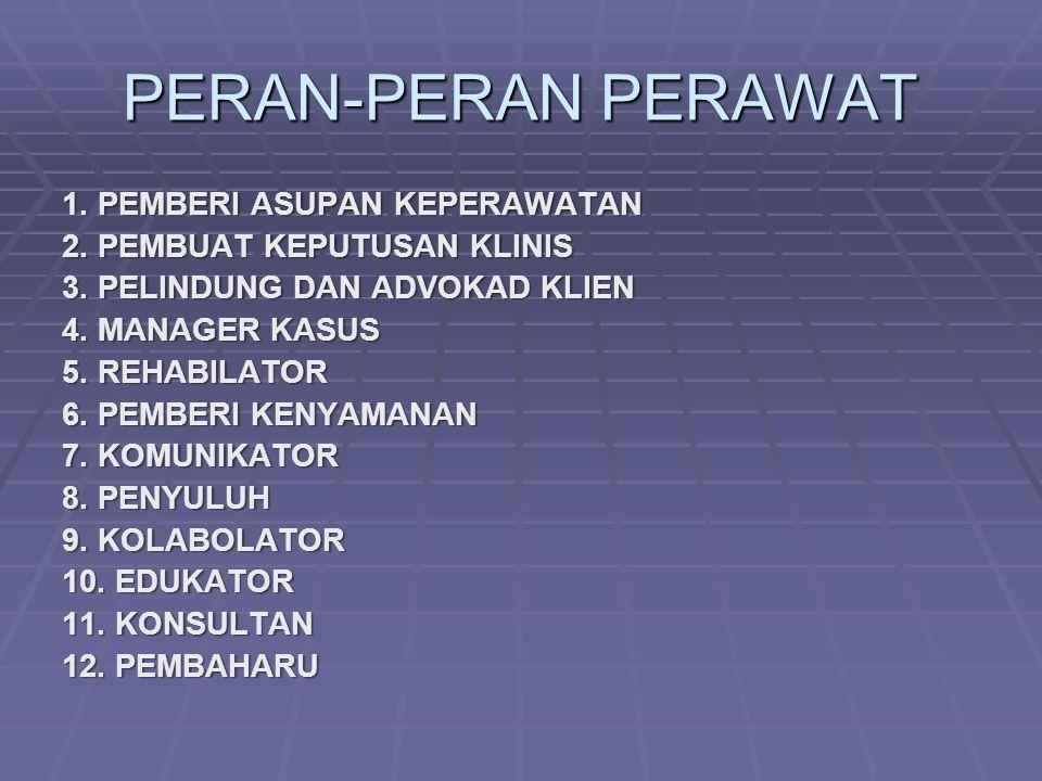 PERAN-PERAN PERAWAT 1.PEMBERI ASUPAN KEPERAWATAN 2.