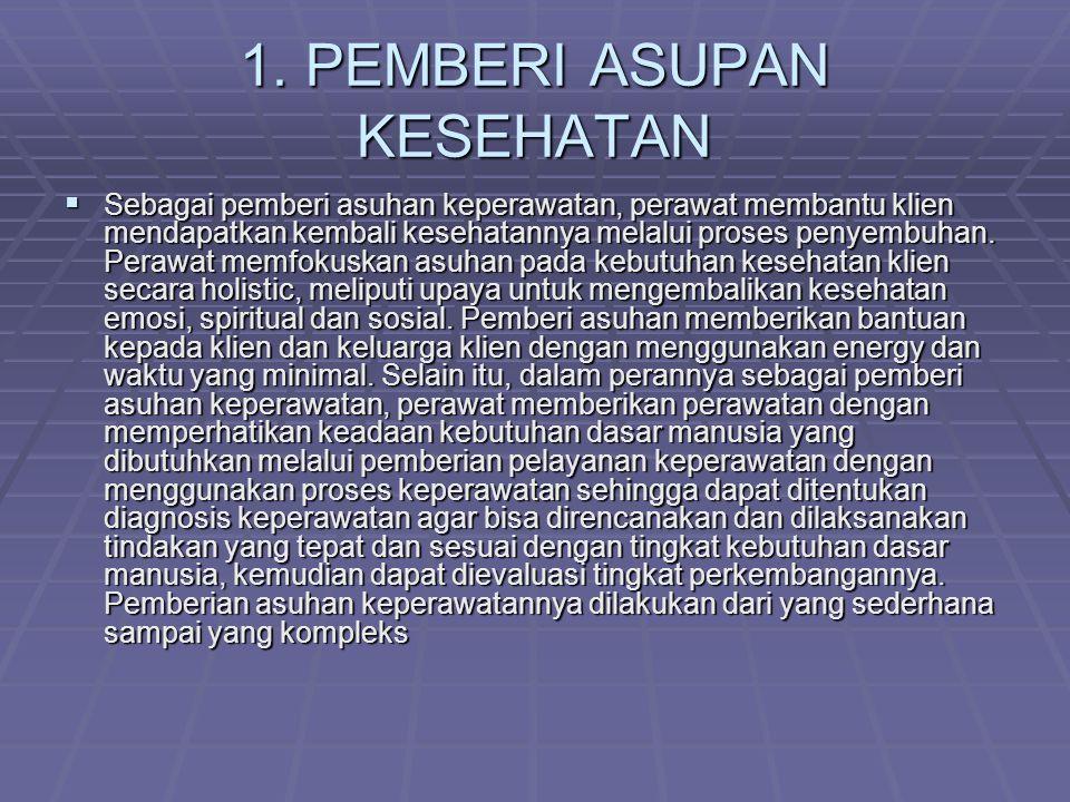 PERAN-PERAN PERAWAT 1. PEMBERI ASUPAN KEPERAWATAN 2. PEMBUAT KEPUTUSAN KLINIS 3. PELINDUNG DAN ADVOKAD KLIEN 4. MANAGER KASUS 5. REHABILATOR 6. PEMBER