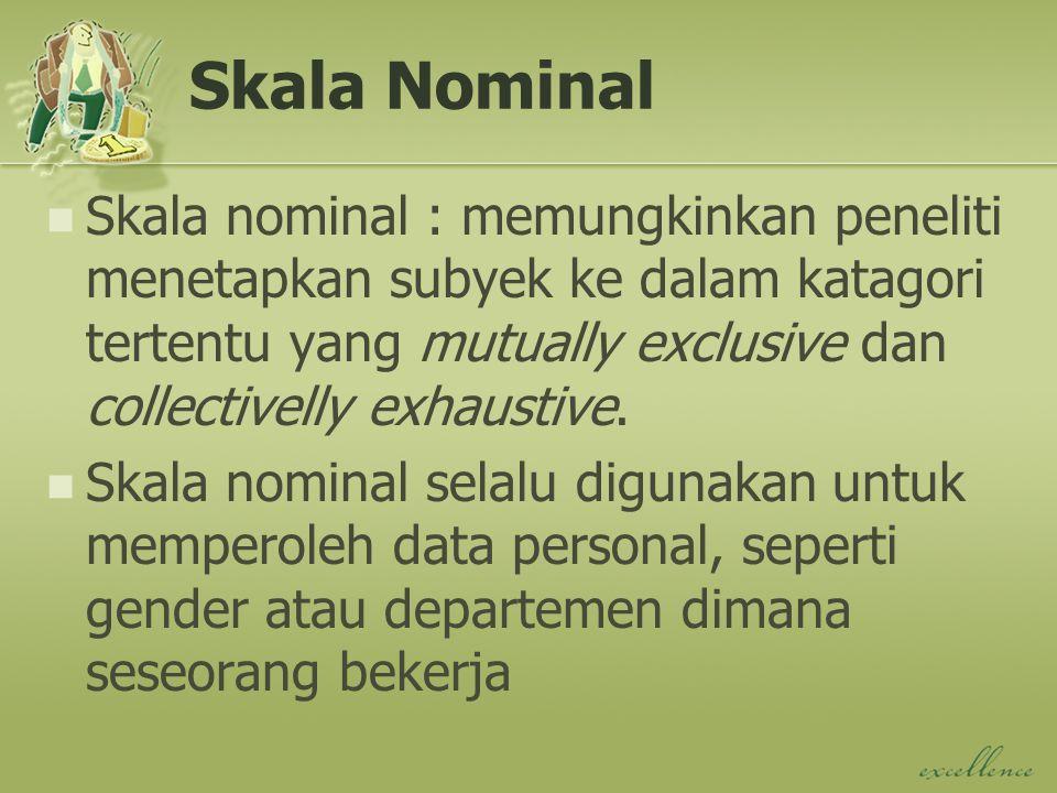 Skala Nominal Skala nominal : memungkinkan peneliti menetapkan subyek ke dalam katagori tertentu yang mutually exclusive dan collectivelly exhaustive.