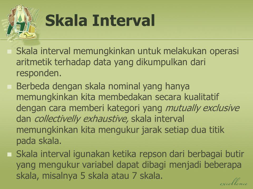 Skala Interval Skala interval memungkinkan untuk melakukan operasi aritmetik terhadap data yang dikumpulkan dari responden.