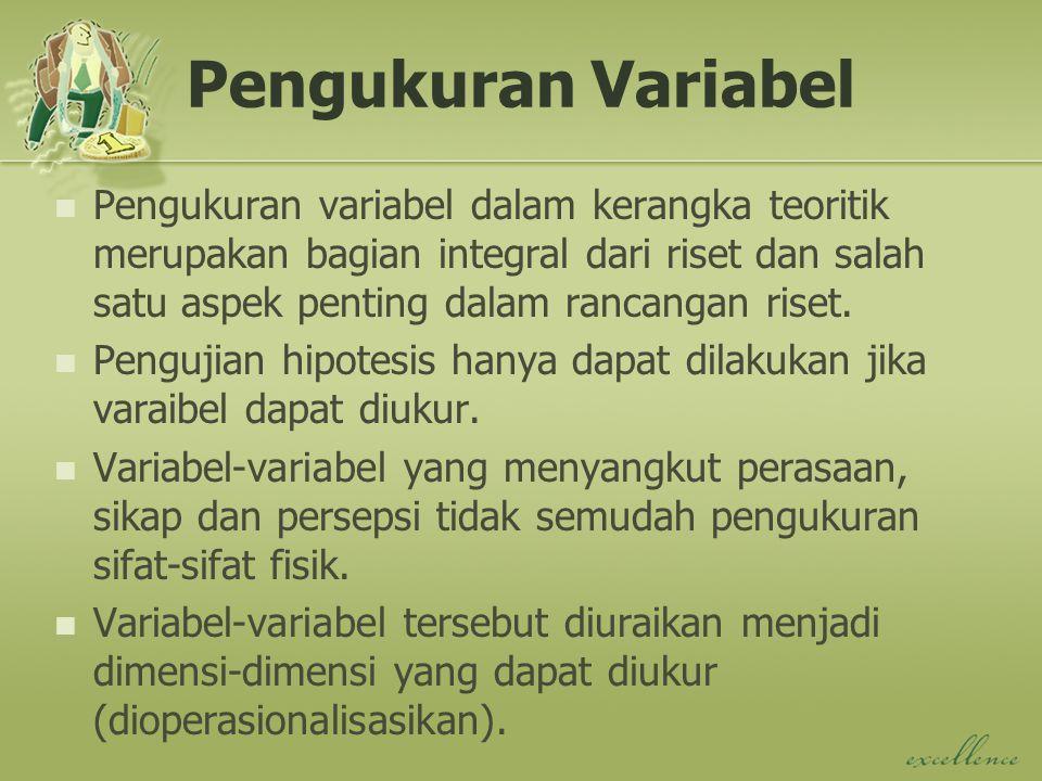 Pengukuran Variabel Pengukuran variabel dalam kerangka teoritik merupakan bagian integral dari riset dan salah satu aspek penting dalam rancangan riset.
