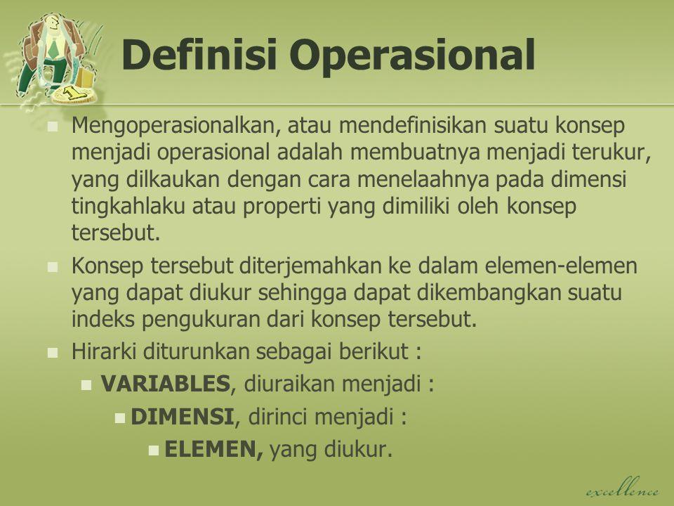 Definisi Operasional Mengoperasionalkan, atau mendefinisikan suatu konsep menjadi operasional adalah membuatnya menjadi terukur, yang dilkaukan dengan cara menelaahnya pada dimensi tingkahlaku atau properti yang dimiliki oleh konsep tersebut.