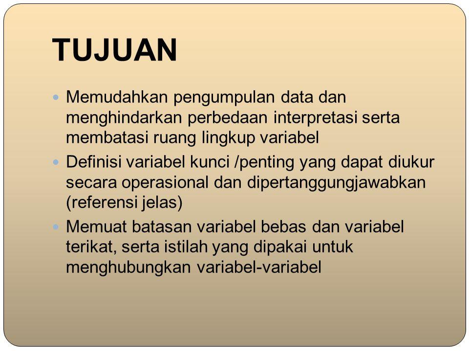 TUJUAN Memudahkan pengumpulan data dan menghindarkan perbedaan interpretasi serta membatasi ruang lingkup variabel Definisi variabel kunci /penting ya