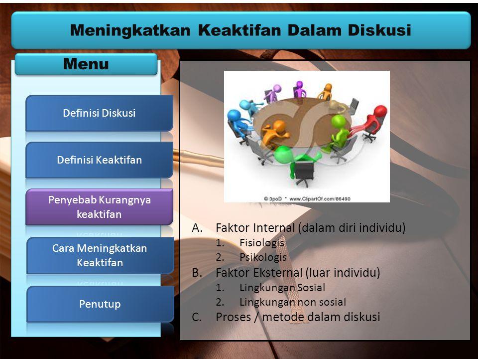 Meningkatkan Keaktifan Dalam Diskusi Menu A.Faktor Internal (dalam diri individu) 1.Fisiologis 2.Psikologis B.Faktor Eksternal (luar individu) 1.Lingk