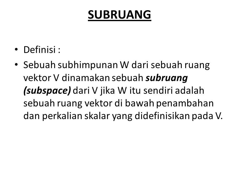 SUBRUANG Definisi : Sebuah subhimpunan W dari sebuah ruang vektor V dinamakan sebuah subruang (subspace) dari V jika W itu sendiri adalah sebuah ruang