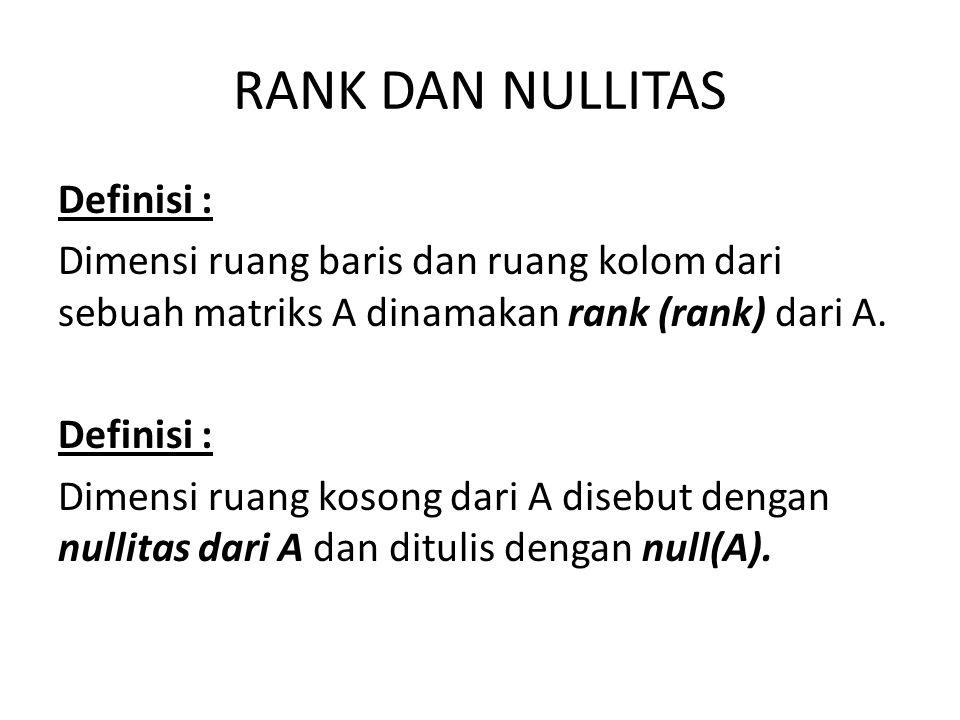 RANK DAN NULLITAS Definisi : Dimensi ruang baris dan ruang kolom dari sebuah matriks A dinamakan rank (rank) dari A. Definisi : Dimensi ruang kosong d
