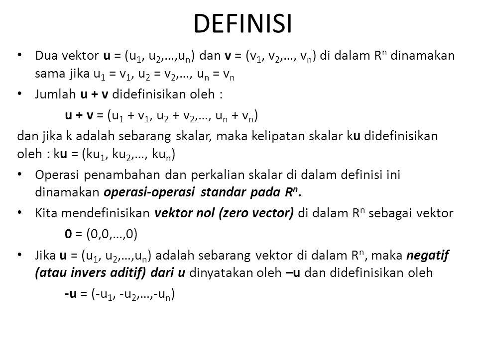 DEFINISI Dua vektor u = (u 1, u 2,…,u n ) dan v = (v 1, v 2,…, v n ) di dalam R n dinamakan sama jika u 1 = v 1, u 2 = v 2,…, u n = v n Jumlah u + v d