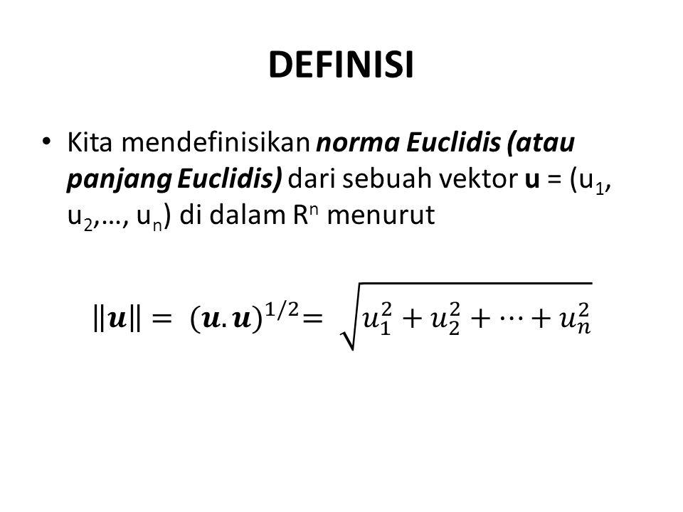 Sebuah ruang vektor tak nol V dinamakan berdimensi berhingga (finite dimensional) jika ruang vektor tersebut mengandung sebuah himpunan berhingga dari vektor- vektor {v 1,v 2,…,v n } yang membentuk sebuah basis.