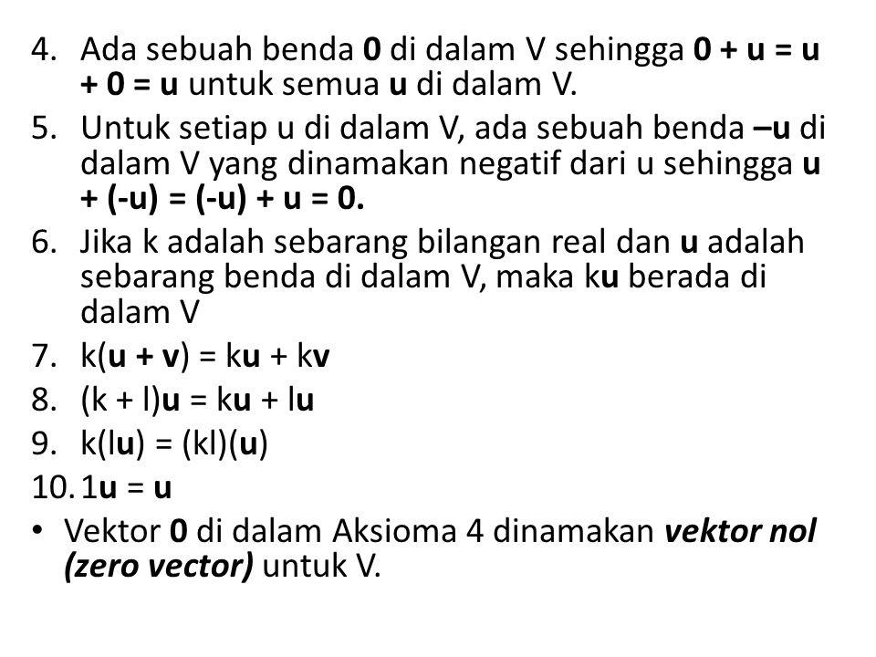 4.Ada sebuah benda 0 di dalam V sehingga 0 + u = u + 0 = u untuk semua u di dalam V. 5.Untuk setiap u di dalam V, ada sebuah benda –u di dalam V yang