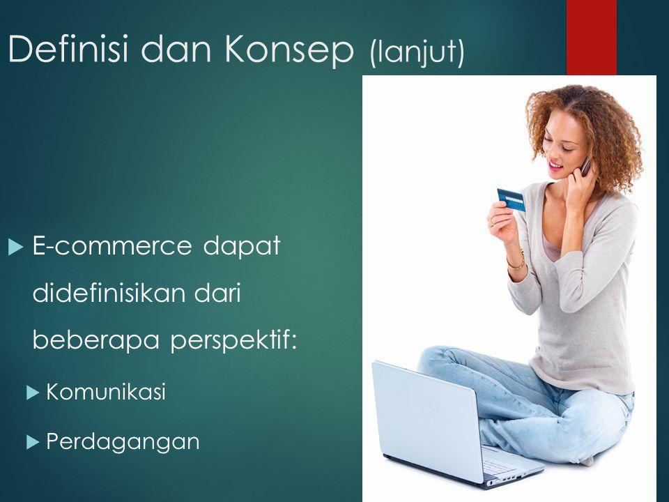 7 Definisi dan Konsep (lanjut)  E-commerce dapat didefinisikan dari beberapa perspektif:  Komunikasi  Perdagangan