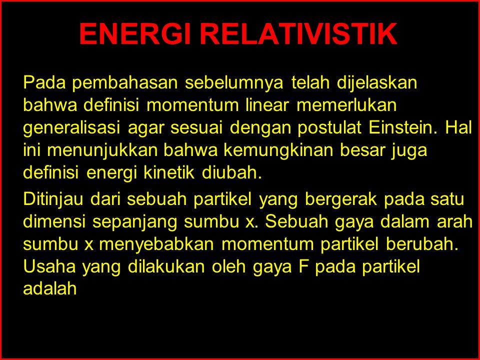 ENERGI RELATIVISTIK Pada pembahasan sebelumnya telah dijelaskan bahwa definisi momentum linear memerlukan generalisasi agar sesuai dengan postulat Ein
