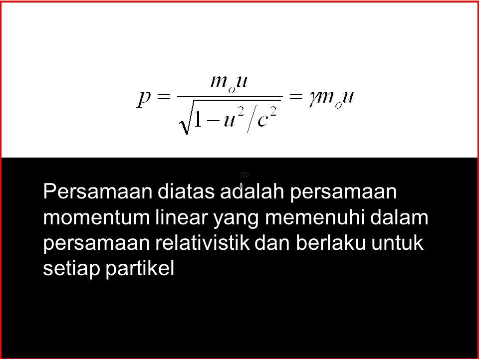 y x z MOMENTUM DAN MASSA RELATIVISTIK Persamaan diatas adalah persamaan momentum linear yang memenuhi dalam persamaan relativistik dan berlaku untuk s