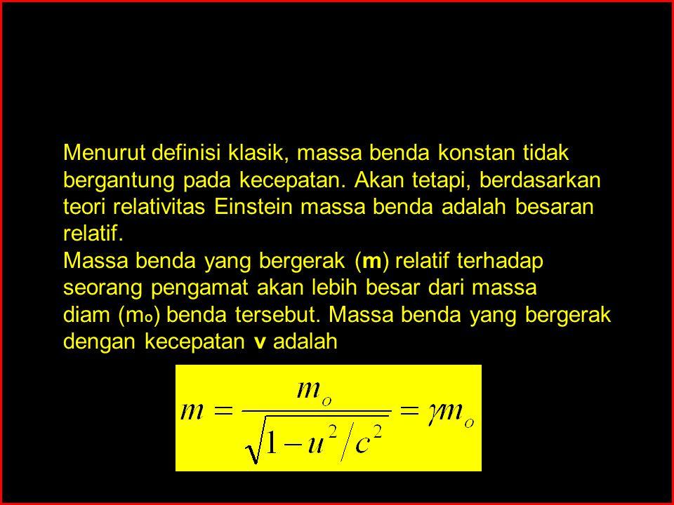 MOMENTUM DAN MASSA RELATIVISTIK Menurut definisi klasik, massa benda konstan tidak bergantung pada kecepatan. Akan tetapi, berdasarkan teori relativit