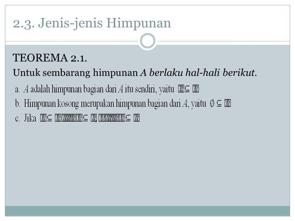 2.3. Jenis-jenis Himpunan TEOREMA 2.1. Untuk sembarang himpunan A berlaku hal-hali berikut.