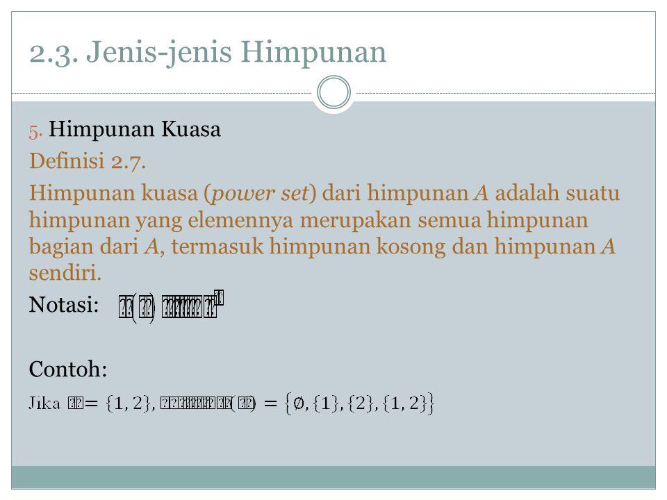 2.3.Jenis-jenis Himpunan 5. Himpunan Kuasa Definisi 2.7.