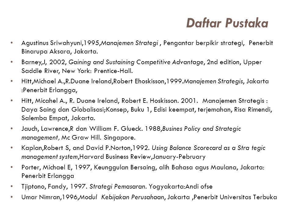 Agustinus Sriwahyuni,1995,Manajemen Strategi, Pengantar berpikir strategi, Penerbit Binarupa Aksara, Jakarta. Barney,J, 2002, Gaining and Sustaining C