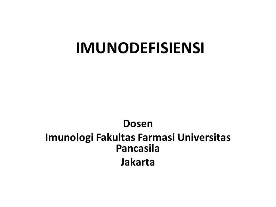 Definisi Imunodefisiensi adalah penyakit yg disebabkan oleh hilang / terjadinya gangguan fungsi dr sebagian sistem imun termasuk sel imun, molekul imun, atau proses kerja sistem imun