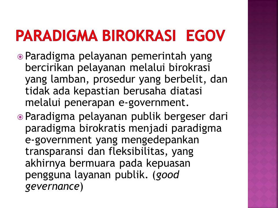  Paradigma pelayanan pemerintah yang bercirikan pelayanan melalui birokrasi yang lamban, prosedur yang berbelit, dan tidak ada kepastian berusaha dia