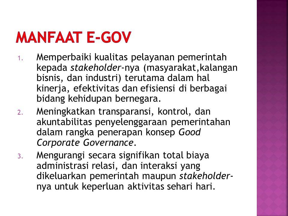 1. Memperbaiki kualitas pelayanan pemerintah kepada stakeholder-nya (masyarakat,kalangan bisnis, dan industri) terutama dalam hal kinerja, efektivitas