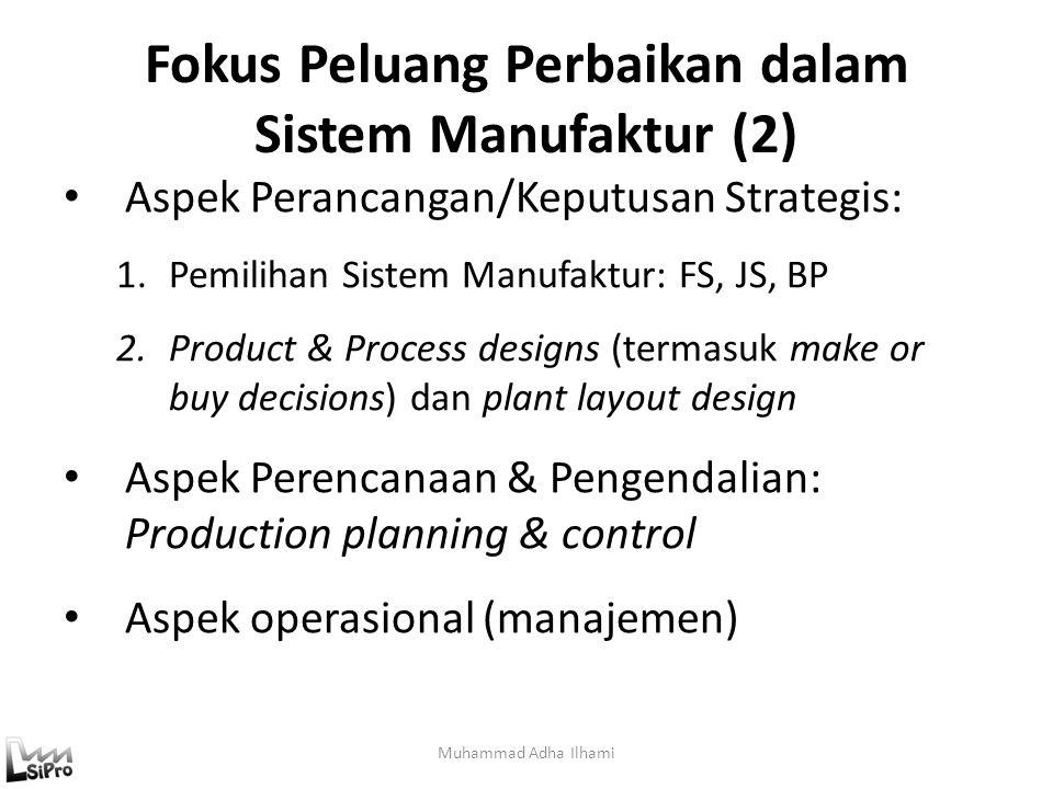 Fokus Peluang Perbaikan dalam Sistem Manufaktur (1) Muhammad Adha Ilhami Waktu pada mesin: – Setup : SMED (single minute exchange of die) – Proses : A