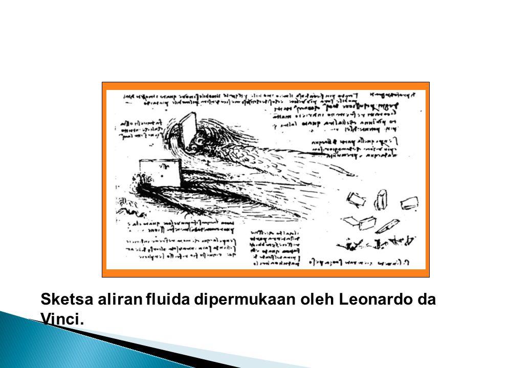 Sketsa aliran fluida dalam suatu pelebaran dan aliran fluida disekitar suatu benda oleh Leonardo da Vinci.
