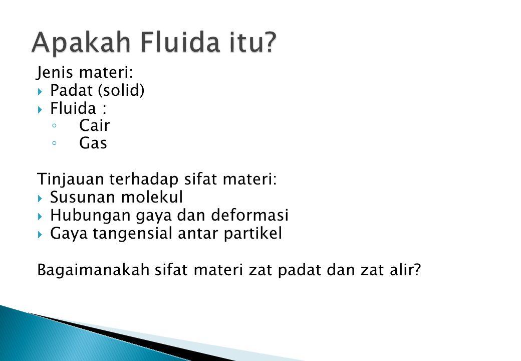  Fluida: cair (liquid) dan gas  Karakteristik fluida dapat ditinjau dari segi: ◦ Kerapatan, berat jenis, volume ◦ Kompresibilitas / kemampatan ◦ Viskositas / kekentalan ◦ Tegangan permukaan