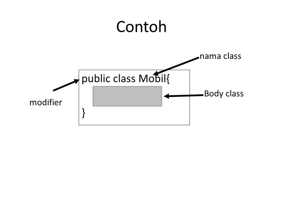 Contoh public class Mobil{ } nama class modifier Body class
