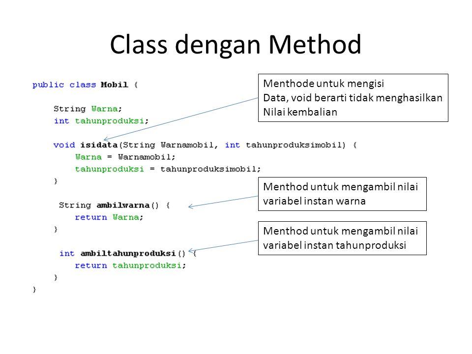 Class dengan Method Menthode untuk mengisi Data, void berarti tidak menghasilkan Nilai kembalian Menthod untuk mengambil nilai variabel instan warna Menthod untuk mengambil nilai variabel instan tahunproduksi