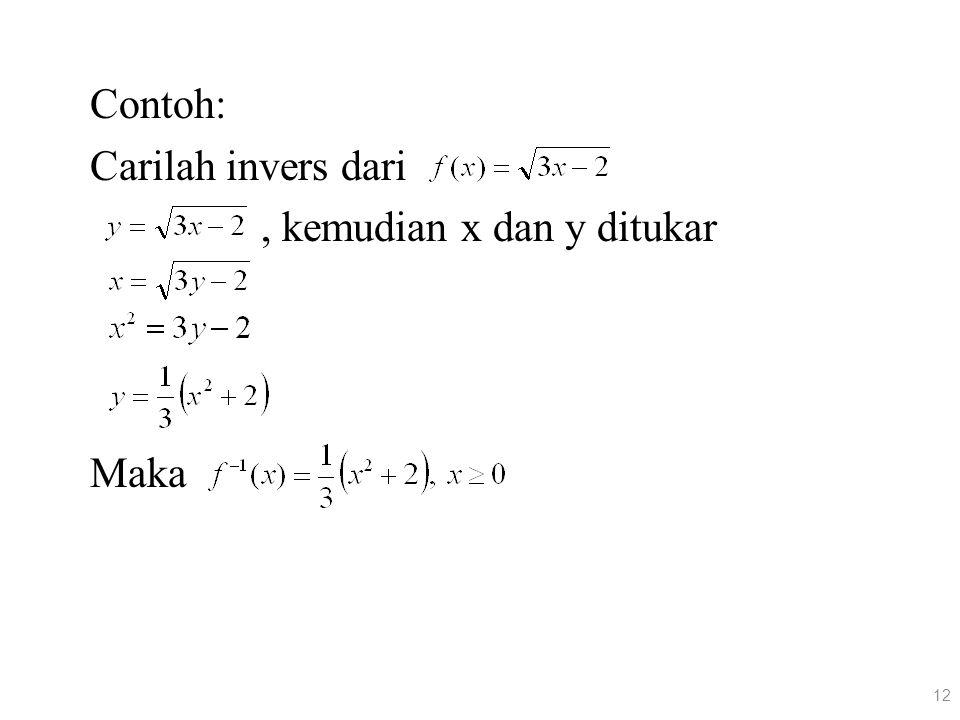 Contoh: Carilah invers dari, kemudian x dan y ditukar Maka 12