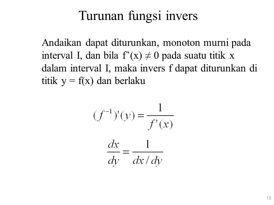 Turunan fungsi invers Andaikan dapat diturunkan, monoton murni pada interval I, dan bila f'(x) ≠ 0 pada suatu titik x dalam interval I, maka invers f