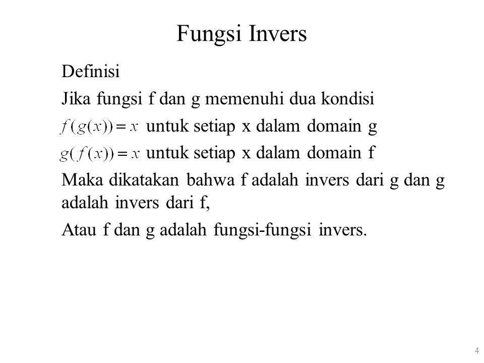 Fungsi Invers Definisi Jika fungsi f dan g memenuhi dua kondisi untuk setiap x dalam domain g untuk setiap x dalam domain f Maka dikatakan bahwa f ada