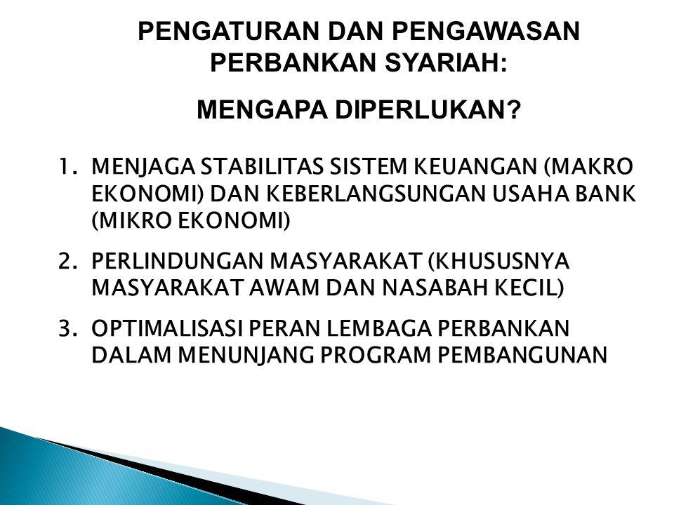 PENGATURAN DAN PENGAWASAN PERBANKAN SYARIAH: MENGAPA DIPERLUKAN? 1.MENJAGA STABILITAS SISTEM KEUANGAN (MAKRO EKONOMI) DAN KEBERLANGSUNGAN USAHA BANK (