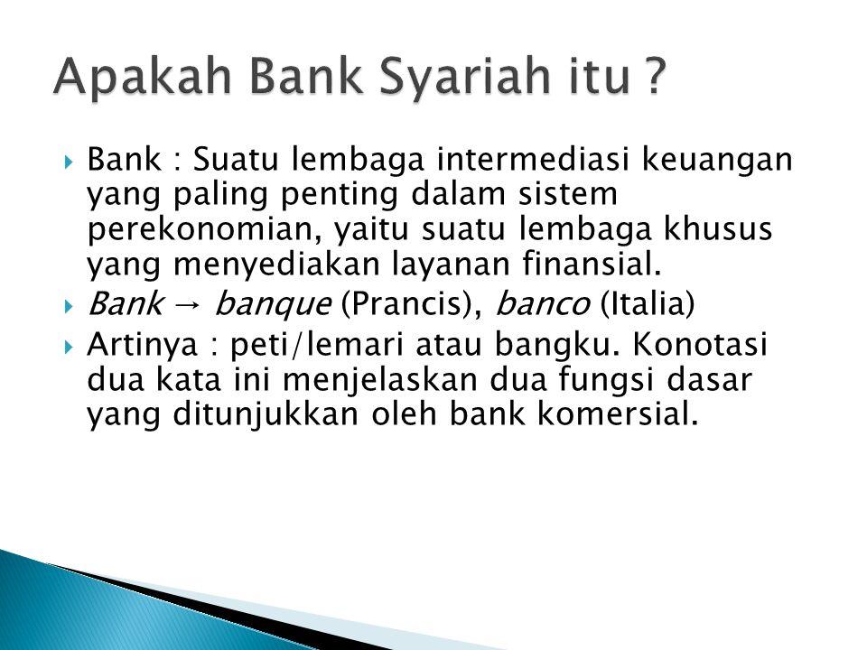  Bank : Suatu lembaga intermediasi keuangan yang paling penting dalam sistem perekonomian, yaitu suatu lembaga khusus yang menyediakan layanan finans