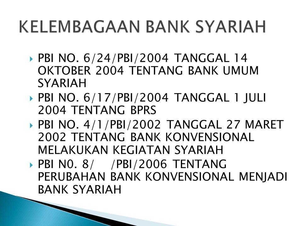  PBI NO. 6/24/PBI/2004 TANGGAL 14 OKTOBER 2004 TENTANG BANK UMUM SYARIAH  PBI NO. 6/17/PBI/2004 TANGGAL 1 JULI 2004 TENTANG BPRS  PBI NO. 4/1/PBI/2