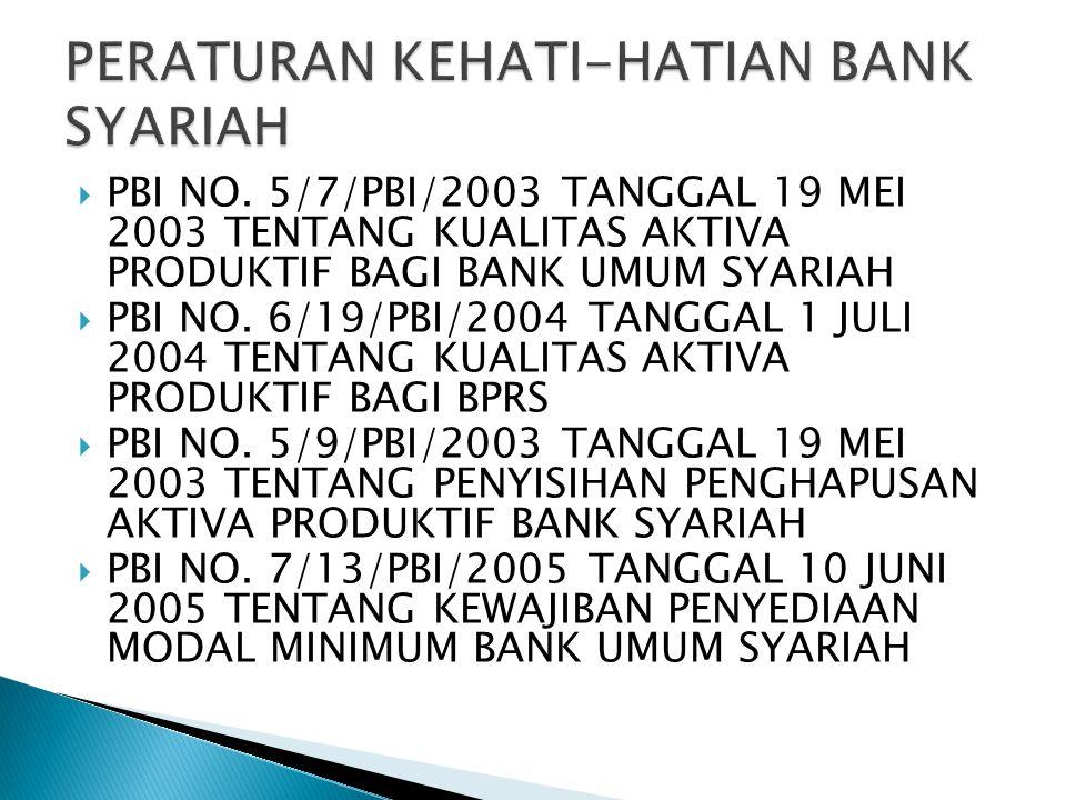  PBI NO. 5/7/PBI/2003 TANGGAL 19 MEI 2003 TENTANG KUALITAS AKTIVA PRODUKTIF BAGI BANK UMUM SYARIAH  PBI NO. 6/19/PBI/2004 TANGGAL 1 JULI 2004 TENTAN