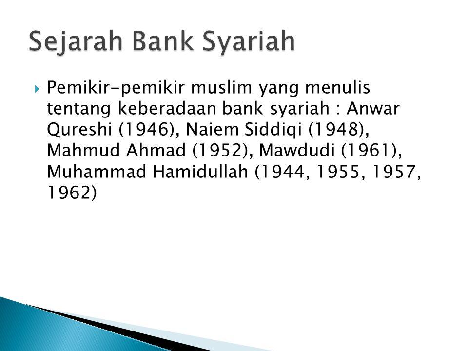  Pemikir-pemikir muslim yang menulis tentang keberadaan bank syariah : Anwar Qureshi (1946), Naiem Siddiqi (1948), Mahmud Ahmad (1952), Mawdudi (1961