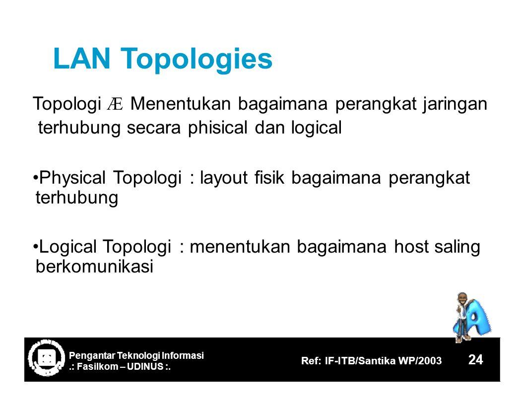 LANTopologies Topologi Æ Menentukan bagaimana perangkat jaringan terhubung secara phisical dan logical Physical Topologi terhubung : layout fisik bagaimana perangkat Logical Topologi berkomunikasi :menentukan bagaimana host saling 24 Ref: IF-ITB/Santika WP/2003.: Fasilkom – UDINUS :.