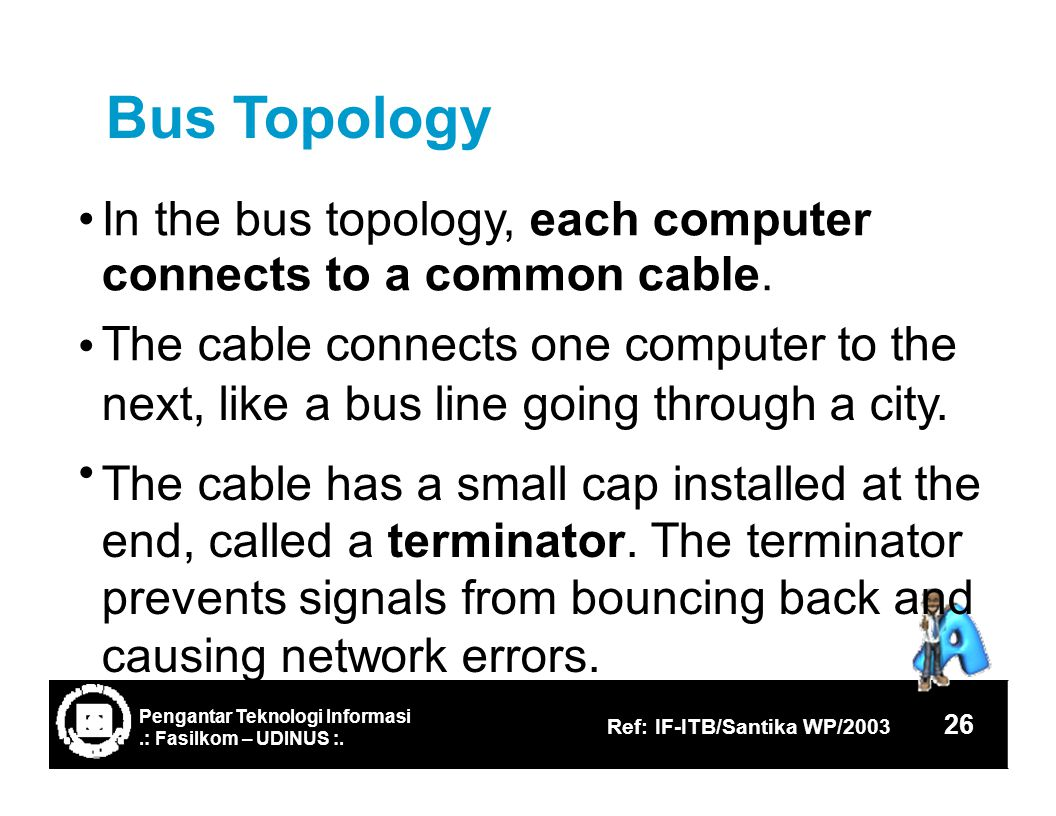 Bus Topology In the bus connects The cable topology, each computer to a common cable.