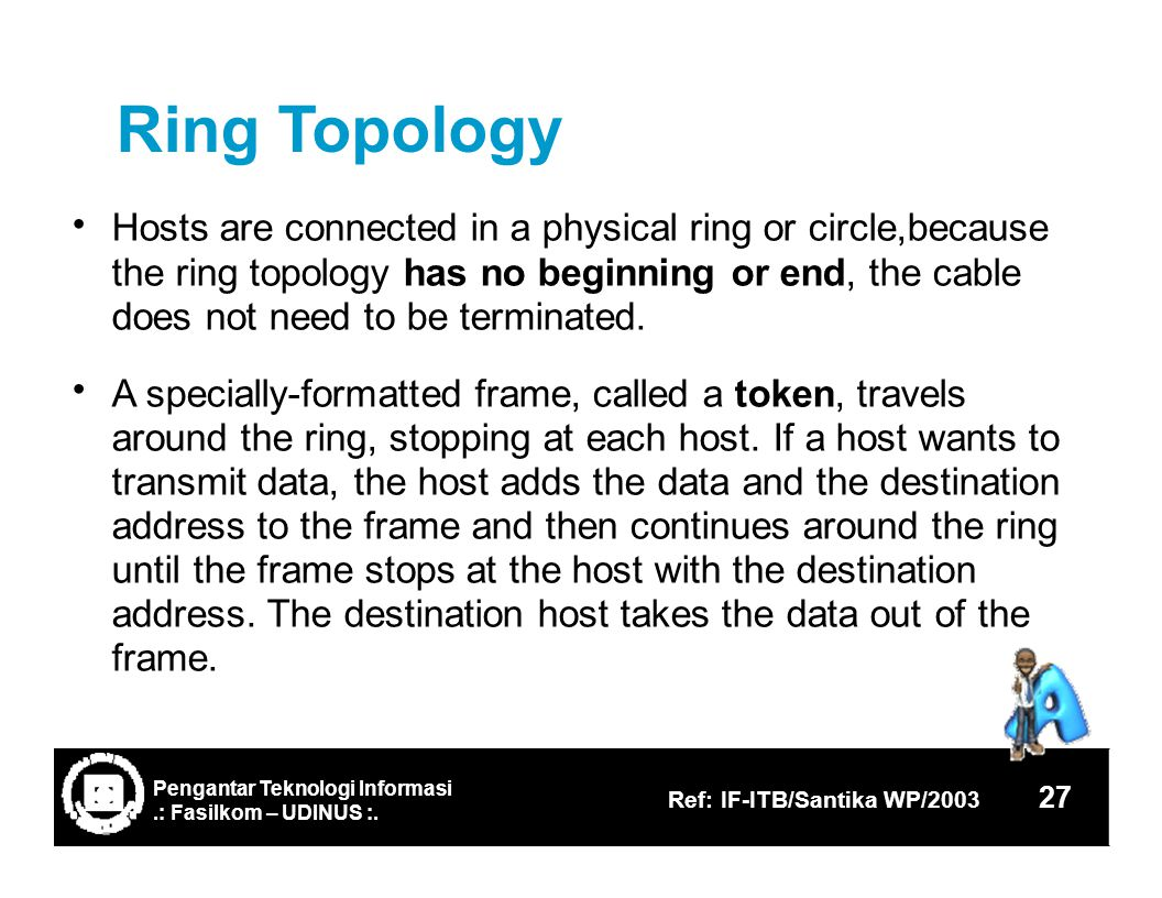 RingTopology Hosts are connected in a physical ring or circle,because the ring topology has no beginning or end, the cable does not need to be terminated.