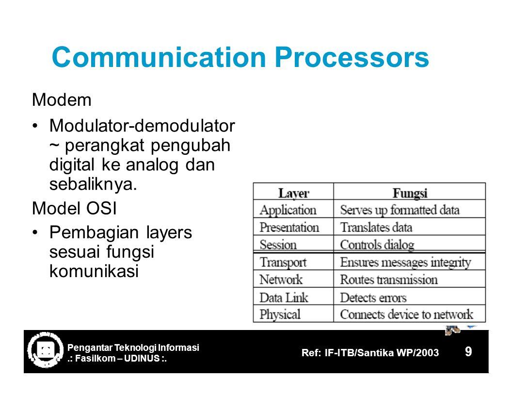 Communication Modem Processors Modulator-demodulator ~ perangkat pengubah digital ke analog dan sebaliknya.