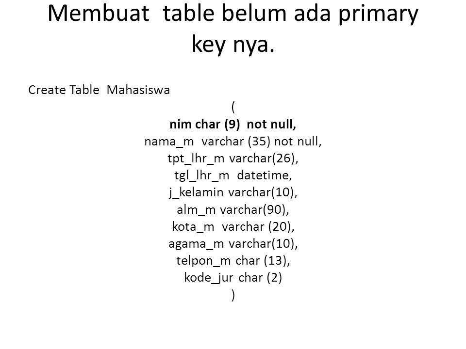 Membuat table belum ada primary key nya. Create Table Mahasiswa ( nim char (9) not null, nama_m varchar (35) not null, tpt_lhr_m varchar(26), tgl_lhr_