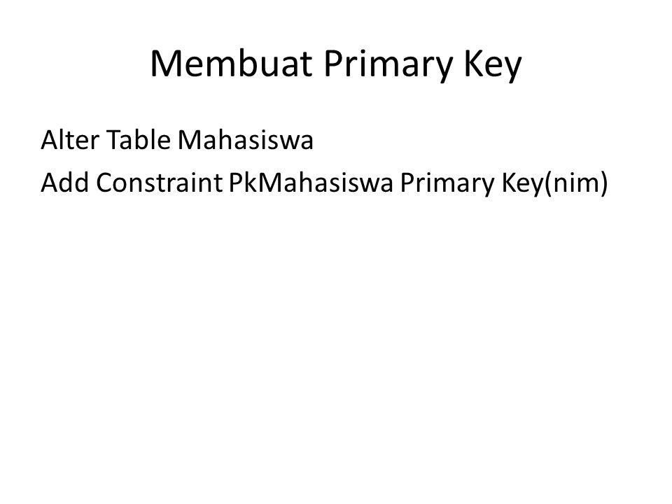 Membuat Primary Key Alter Table Mahasiswa Add Constraint PkMahasiswa Primary Key(nim)