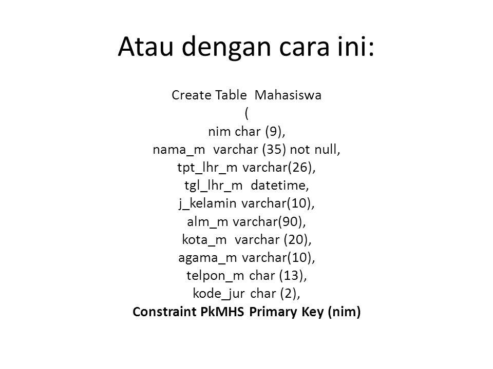 Atau dengan cara ini: Create Table Mahasiswa ( nim char (9), nama_m varchar (35) not null, tpt_lhr_m varchar(26), tgl_lhr_m datetime, j_kelamin varcha