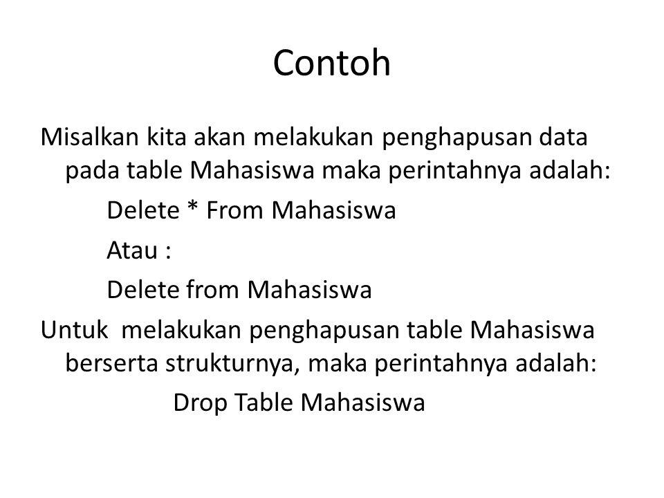 Contoh Misalkan kita akan melakukan penghapusan data pada table Mahasiswa maka perintahnya adalah: Delete * From Mahasiswa Atau : Delete from Mahasisw